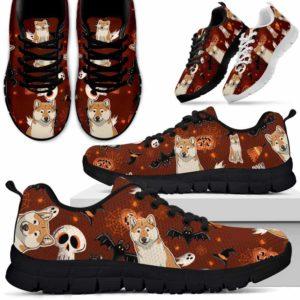 SS-U-Dog-HalloweenPattern3-Shiba_Inu-60@ Halloween Pattern 3 Shiba Inu 60-Spooky Shiba Inu Halloween Dog Lovers Sneakers Running Shoes Gift Women Men. Custom Shoes.