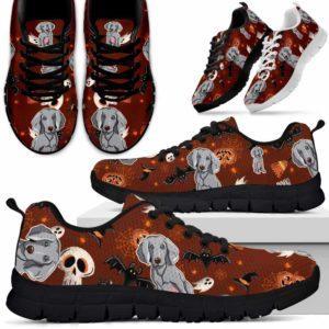 SS-U-Dog-HalloweenPattern3-Weimaraner-61@ Halloween Pattern 3 Weimaraner 61-Spooky Weimaraner Halloween Dog Lovers Sneakers Running Shoes Gift Women Men. Custom Shoes.