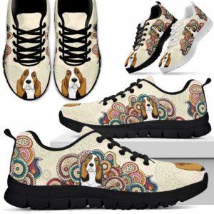 SS-U-Dog-MandalaBot-Basset_Hound-3@ Mandala Bot Basset Hound 3-Basset Hound Dog Lovers Sneakers Running Shoes Gift Women Men Dog Mom Dog Dad. Mandala Custom Shoes.