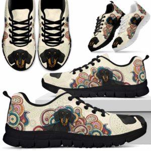 SS-U-Dog-MandalaBot-Dachshund-19@ Mandala Bot Dachshund 19-Dachshund Dog Lovers Sneakers Running Shoes Gift Women Men Dog Mom Dog Dad. Mandala Custom Shoes.