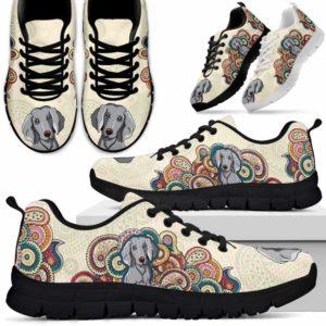 SS-U-Dog-MandalaBot-Weimaraner-61@ Mandala Bot Weimaraner 61-Weimaraner Dog Lovers Sneakers Running Shoes Gift Women Men Dog Mom Dog Dad. Mandala Custom Shoes.