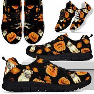 SS-U-Dog-PumpkinHalloween-Pug-53@ Pumpkin Halloween Pug 53-Pug Halloween Dog Lovers Sneakers Running Shoes Gift Men Women. Pumpkin Custom Shoes.