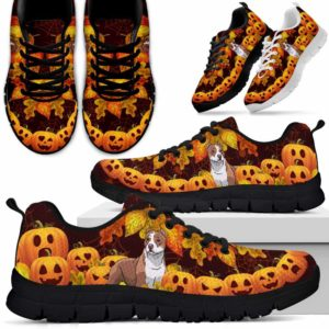 SS-U-Dog-PumpkinLine-Pit_Bull-42@ Pumpkin Line Pit Bull 42-Pit Bull Halloween Dog Lovers Sneakers Running Shoes Gift Men Women. Pumpkin Custom Shoes.