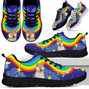 SS-U-Dog-Rainbow-Shiba_Inu-60@ Rainbow Rainbow Shiba Inu 60-Shiba Inu Dog Lovers Sneakers Running Shoes Gift Women Men. Colorful Rainbow Custom Shoes.
