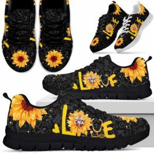 SS-U-Nurse-LoveSunflower-CNA-0@ Love Sunflower CNA 0-Cna Nursing Assistant Sneakers Running Shoes Gift For Women Men. Love Sunflower Custom Shoes.