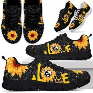 SS-U-Nurse-LoveSunflower-Vet_Tech-31@ Love Sunflower Vet Tech 31-Vet Tech Veterinary Technician Sneakers Running Shoes Gift For Women Men. Love Sunflower Custom Shoes.