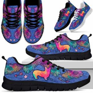 SS-W-Dog-ColorfulFeather-Corgi-8@ Colorful Feather Corgi 8-Corgi Dog Lovers Sneakers Running Shoes Gift Women Men. Colorful Feather Custom Shoes.
