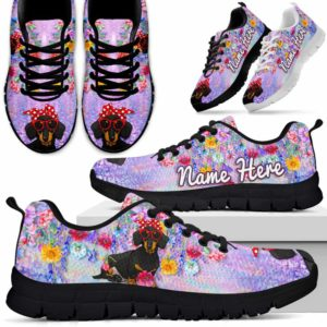 SS-W-Dog-ColorfulFlower-Dachshund-19@ Colorful Flower Dachshund 19-Dachshund Halloween Dog Lovers Sneakers Running Shoes Gift Men Women. Colorful Flower Custom Shoes.