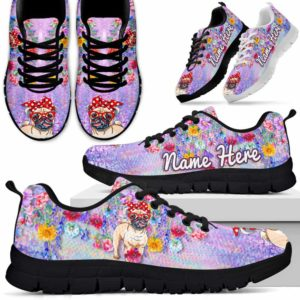 SS-W-Dog-ColorfulFlower-Pug-55@ Colorful Flower Pug 55-Pug Halloween Dog Lovers Sneakers Running Shoes Gift Men Women. Colorful Flower Custom Shoes.