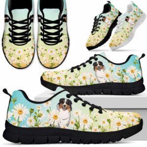 SS-W-Dog-DaisyGradientBG-Aussie-1@ Daisy Gradient Background Aussie 1-Aussie Daisy Field Sneakers Running Shoes Gift Women Men. Flower Dog Mom Dog Dad Custom Shoes. Australian Shepherd