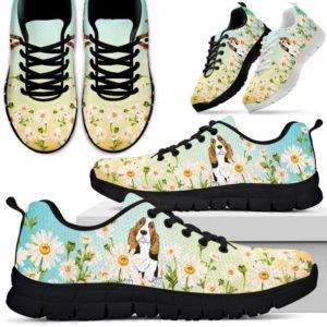 SS-W-Dog-DaisyGradientBG-Basset_Hound-3@ Daisy Gradient Background Basset Hound 3-Basset Hound Daisy Field Sneakers Running Shoes Gift Women Men. Flower Dog Mom Dog Dad Custom Shoes.