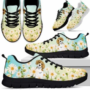 SS-W-Dog-DaisyGradientBG-Beagle-4@ Daisy Gradient Background Beagle 4-Beagle Daisy Field Sneakers Running Shoes Gift Women Men. Flower Dog Mom Dog Dad Custom Shoes.