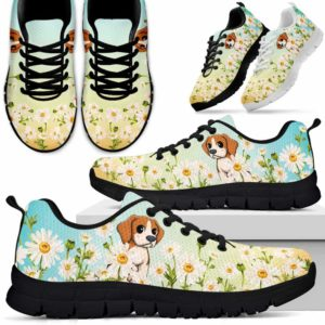 SS-W-Dog-DaisyGradientBG-Beagle-5@ Daisy Gradient Background Beagle 5-Beagle Daisy Field Sneakers Running Shoes Gift Women Men. Flower Dog Mom Dog Dad Custom Shoes.