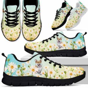 SS-W-Dog-DaisyGradientBG-Corgi-18@ Daisy Gradient Background Corgi 18-Corgi Daisy Field Sneakers Running Shoes Gift Women Men. Flower Dog Mom Dog Dad Custom Shoes.