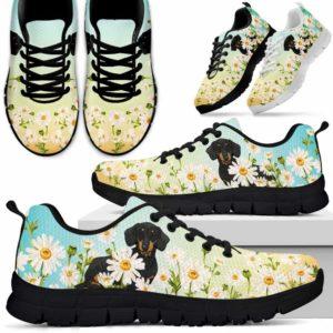 SS-W-Dog-DaisyGradientBG-Dachshund-19@ Daisy Gradient Background Dachshund 19-Dachshund Daisy Field Sneakers Running Shoes Gift Women Men. Flower Dog Mom Dog Dad Custom Shoes.