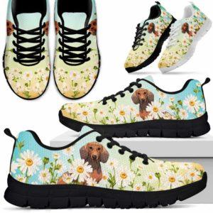 SS-W-Dog-DaisyGradientBG-Dachshund-20@ Daisy Gradient Background Dachshund 20-Dachshund Daisy Field Sneakers Running Shoes Gift Women Men. Flower Dog Mom Dog Dad Custom Shoes.