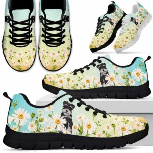 SS-W-Dog-DaisyGradientBG-Schnauzer-59@ Daisy Gradient Background Schnauzer 59-Schnauzer Daisy Field Sneakers Running Shoes Gift Women Men. Flower Dog Mom Dog Dad Custom Shoes.