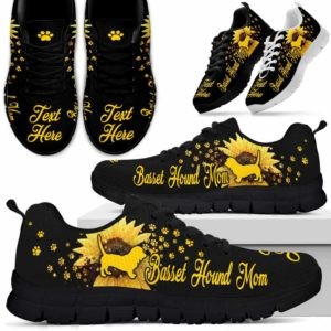 SS-W-Dog-DogMomSunflower2-Basset_Hound-1@ Dog Sunflower 2 Basset Hound 1-Basset Hound Mom Sneakers Running Shoes Gift For Women Men Dog Lovers Dog Mom. Sunflower Custom Shoes.
