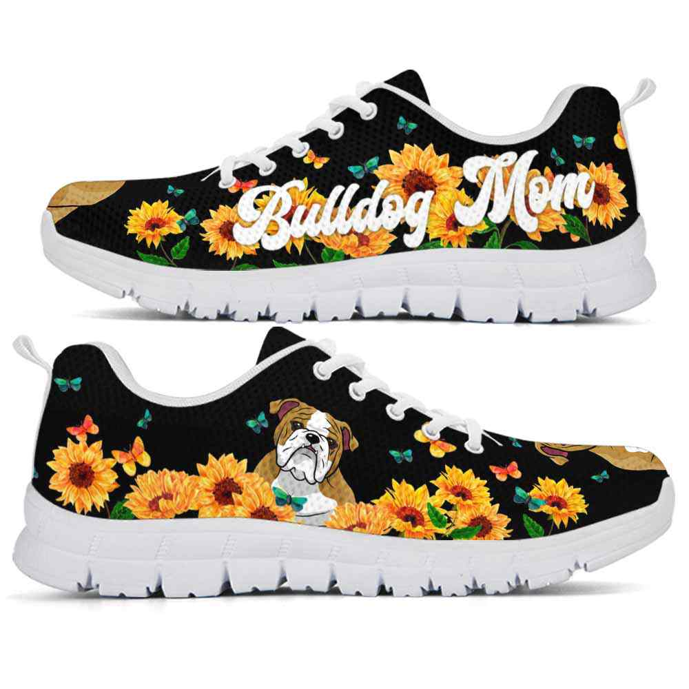 SS-W-Dog-DogMomSunflowerLine-Bulldog-13@ Dog Mom Sunflower Line Bulldog 13-Bulldog Mom Sunflower Sneakers Running Shoes Gift Women. Dog Mom Ruff Life Custom Shoes.