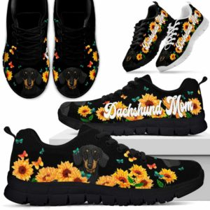 SS-W-Dog-DogMomSunflowerLine-Dachshund-19@ Dog Mom Sunflower Line Dachshund 19-Dachshund Mom Sunflower Sneakers Running Shoes Gift Women. Dog Mom Ruff Life Custom Shoes.