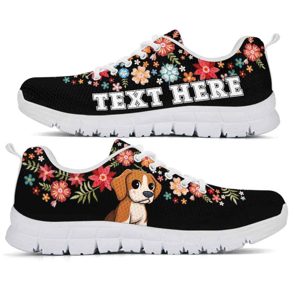 SS-W-Dog-Embroidery5-Beagle-5@undefined-Beagle Dog Lovers Sneakers Gym Colorful Flower Floral Running Shoes Gift Women Men. Dog Mom Dog Dad Custom Shoes.
