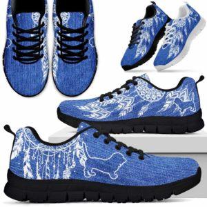 SS-W-Dog-MixDreamcatcherW-Basset_Hound-1@ Mix Dreamcatcher W Basset Hound 1-Basset Hound Dog Lovers Sneakers Running Shoes Gift Women Men Dog Mom Dad. Dreamcatcher Custom Shoes.