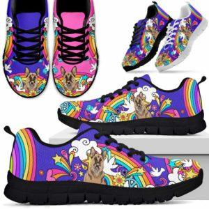 SS-W-Dog-PastelHippie-German_Shepherd-29@ Pastel Hippie German Shepherd 29-German Shepherd Sneakers Running Shoes Gift Women Men Dog Lovers. Pastel Hippie Colorful Custom Shoes.