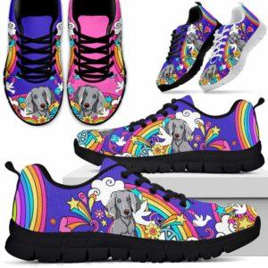 SS-W-Dog-PastelHippie-Weimaraner-61@ Pastel Hippie Weimaraner 61-Weimaraner Sneakers Running Shoes Gift Women Men Dog Lovers. Pastel Hippie Colorful Custom Shoes.