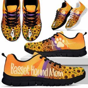 SS-W-Dog-SunflowerDogMom-Basset_Hound-3@ Sunflower Dog Mom Basset Hound 3-Basset Hound Mom Sneakers Running Shoes Gift Women Men Dog Mom. Dog Lovers Sunflower Custom Shoes.