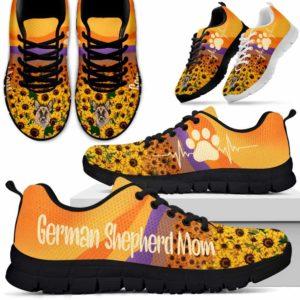 SS-W-Dog-SunflowerDogMom-German_Shepherd-29@ Sunflower Dog Mom German Shepherd 29-German Shepherd Mom Sneakers Running Shoes Gift Women Men Dog Mom. Dog Lovers Sunflower Custom Shoes.