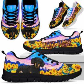 Dachshund Sunflower Sky Sneakers Running Shoes Gift Women Men. Dog Mom Dog Dad Custom Shoes.