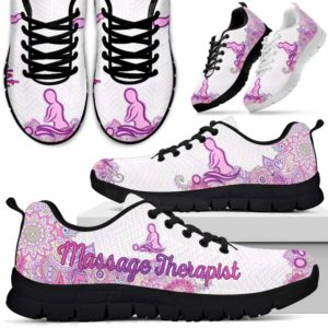 SS-W-Nurse-PastelMandalaBack-Massage_Therapist-10@ Pastel Mandala Back Massage Therapist 10-Mens Womens Massage Therapist Shoes For Men Women. Massage Therapist Sneakers Gift For Mom Dad. Custom Shoes. Cute Pastel Mandala Shoes.