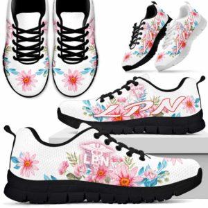 SS-W-Nurse-WatercolorFlower-LPN-7@ Watercolor Flower LPN 7-Lpn Licensed Practical Nurse Sneakers Running Shoes Gift For Men Women. Watercolor Flower Custom Shoes.