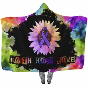 HB-U-Awareness-FaithLoveHope-Migrai-28@undefined-Migraine Awareness Watercolor Colorful Adults Kids Baby Hooded Blanket With Hood. Faith Hope Love Fighter Survivor Gift.