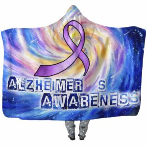 HB-U-Awareness-GalaxyHole-Alzhei-2@undefined-Alzheimer'S Awareness Colorful Galaxy Adults Kids Baby Hooded Blanket With Hood. Faith Hope Love Fighter Survivor Gift.