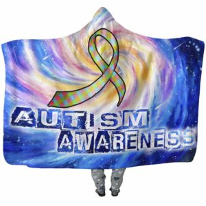 HB-U-Awareness-GalaxyHole-Autism-5@undefined-Autism Awareness Colorful Galaxy Adults Kids Baby Hooded Blanket With Hood. Faith Hope Love Fighter Survivor Gift.