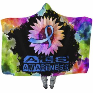 HB-U-Awareness-SunflowerWatercolorBorder-ALS-1@undefined-Als Amyotrophic Lateral Sclerosis Awareness Sunflower Watercolor Adults Kids Baby Hooded Blanket With Hood. Survivor Gift.
