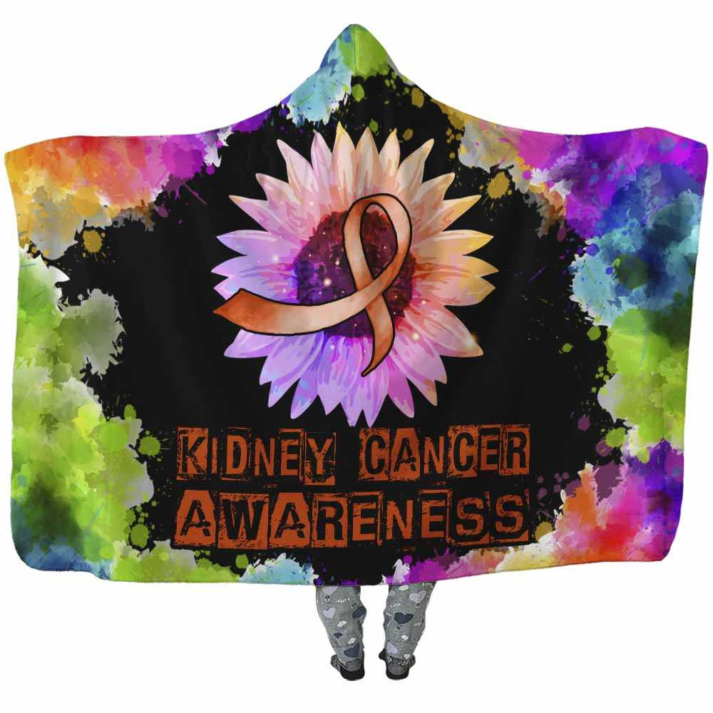 HB-U-Awareness-SunflowerWatercolorBorder-KidCan-23@undefined-Kidney Cancer Awareness Sunflower Watercolor Adults Kids Baby Hooded Blanket With Hood. Faith Hope Love Survivor Gift.