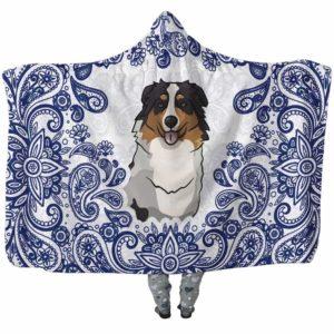 HB-U-Dog-BluePaisley-Aussie-1@undefined-Aussie Dog Lovers Blue Paisley Mandala Adults Kids Baby Hooded Blanket. Dog Mom Dog Dad Gift Custom Blanket. Australian Shepherd