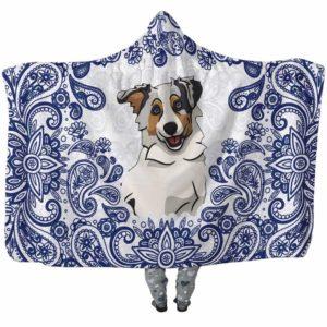 HB-U-Dog-BluePaisley-Aussie-2@undefined-Aussie Dog Lovers Blue Paisley Mandala Adults Kids Baby Hooded Blanket. Dog Mom Dog Dad Gift Custom Blanket. Australian Shepherd