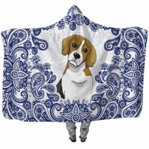 HB-U-Dog-BluePaisley-Beagle-4@undefined-Beagle Dog Lovers Blue Paisley Mandala Adults Kids Baby Hooded Blanket. Dog Mom Dog Dad Gift Custom Blanket.