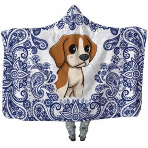 HB-U-Dog-BluePaisley-Beagle-5@undefined-Beagle Dog Lovers Blue Paisley Mandala Adults Kids Baby Hooded Blanket. Dog Mom Dog Dad Gift Custom Blanket.