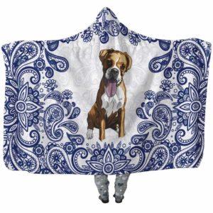 HB-U-Dog-BluePaisley-Boxer-9@undefined-Boxer Dog Lovers Blue Paisley Mandala Adults Kids Baby Hooded Blanket. Dog Mom Dog Dad Gift Custom Blanket.