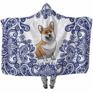 HB-U-Dog-BluePaisley-Corgi-18@undefined-Corgi Dog Lovers Blue Paisley Mandala Adults Kids Baby Hooded Blanket. Dog Mom Dog Dad Gift Custom Blanket.