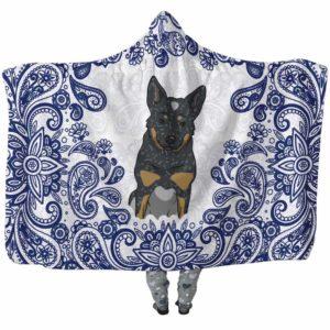 HB-U-Dog-BluePaisley-Heeler-35@undefined-Heeler Dog Lovers Blue Paisley Mandala Adults Kids Baby Hooded Blanket. Dog Mom Dog Dad Gift Custom Blanket. Australian Cattle