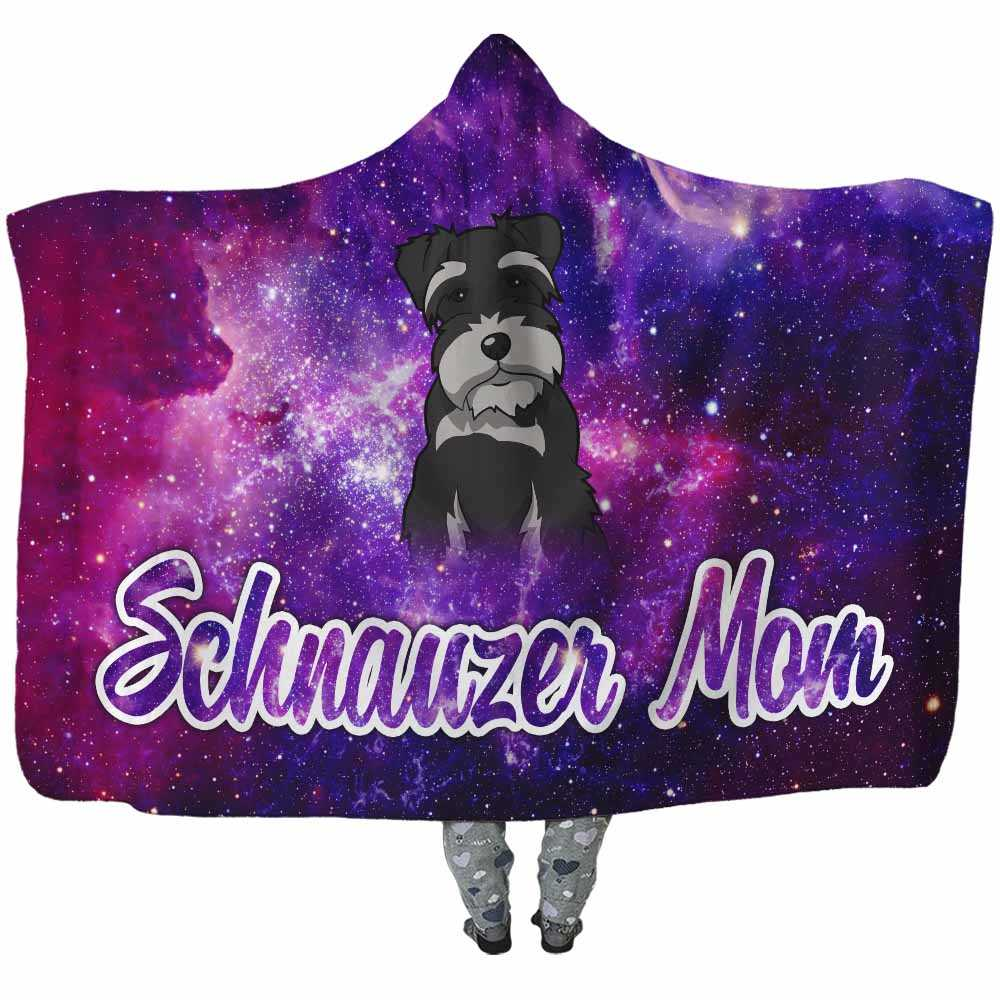 HB-U-Dog-GalaxyBG-Schzer-59@undefined-Schnauzer Mom Dog Lovers Galaxy Adults Kids Baby Hooded Blanket With Hood. Dog Mom Dog Owner Gift Custom Blanket.