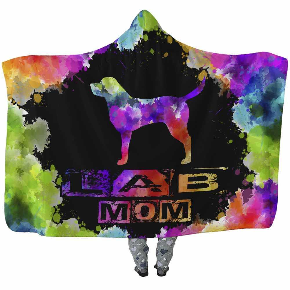 HB-U-Dog-WatercolorBorder-Lab-17@undefined-Lab Dog Lovers Watercolor Adults Kids Baby Hooded Blanket. Dog Mom Dog Dad Dog Owner Gift Custom Blanket. Labrador Retriever
