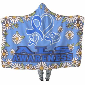 HB-W-Awareness-DaisyBorder28-ALS-1@undefined-Als Amyotrophic Lateral Sclerosis Awareness Daisy Flower Adults Kids Baby Hooded Blanket. Faith Hope Love Survivor Gift.
