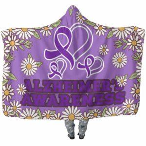 HB-W-Awareness-DaisyBorder28-Alzhei-2@undefined-Alzheimer'S Awareness Daisy Flower Adults Kids Baby Hooded Blanket With Hood. Faith Hope Love Survivor Gift.