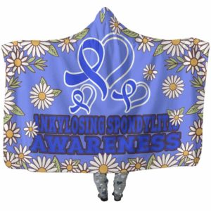 HB-W-Awareness-DaisyBorder28-AnSpon-3@undefined-Ankylosing Spondylitis Awareness Daisy Flower Adults Kids Baby Hooded Blanket With Hood. Faith Hope Love Survivor Gift.